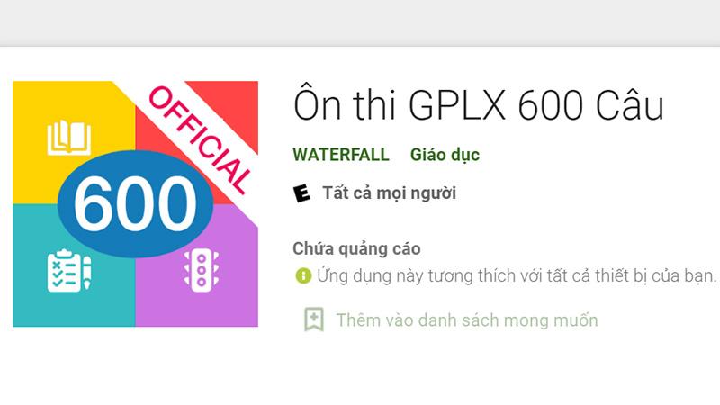 Phần mềm ôn thi 600 câu hỏi