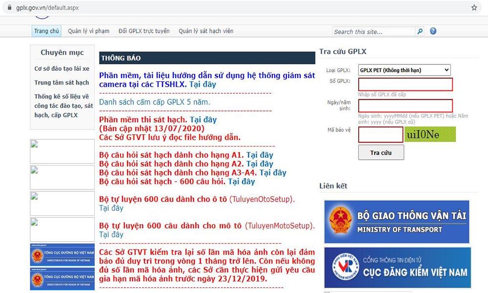 Bước 1: Truy cập website tra cứu giấy phép lái xe