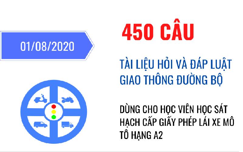 Đề thi bằng lái xe mô tô A2 luật mới 2021
