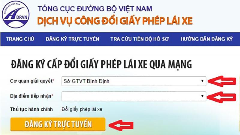 Đổi trên website của Tổng Cục đường bộ Việt Nam