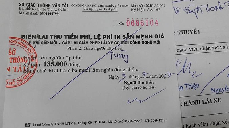 Lệ phí cấp lại GPLX
